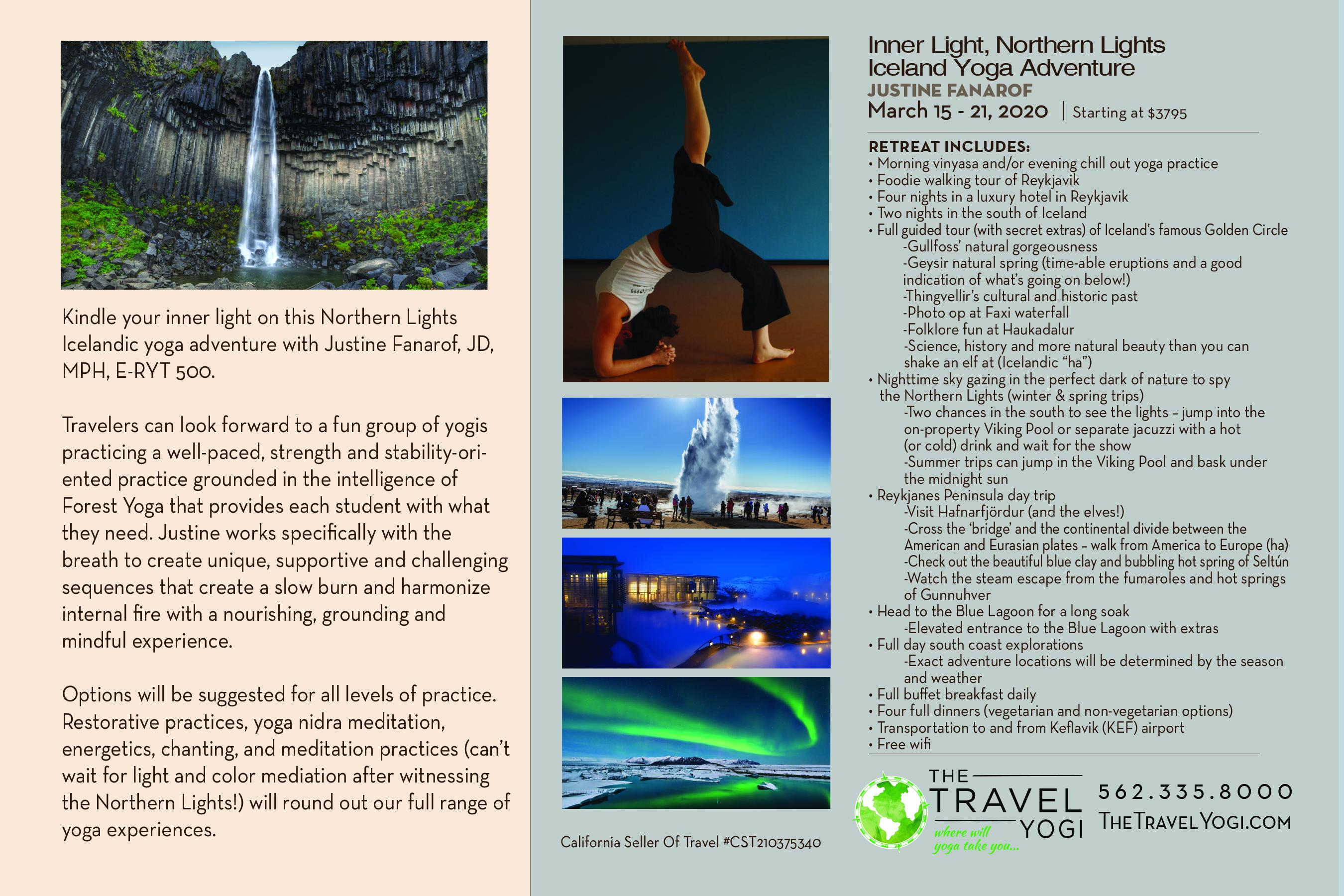 Iceland Yoga Justine Fanarof Retreat Adventure Northern Lights Travel Yogi Spring Break 2020