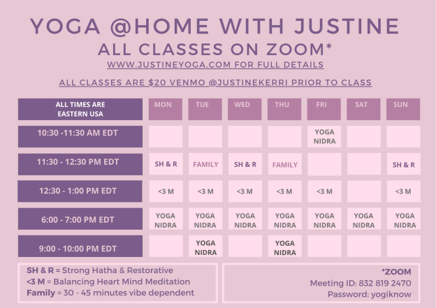 Eastern Time Yoga at Home Zoom Schedule Justine Meditation Yoga Nidra Family Yoga