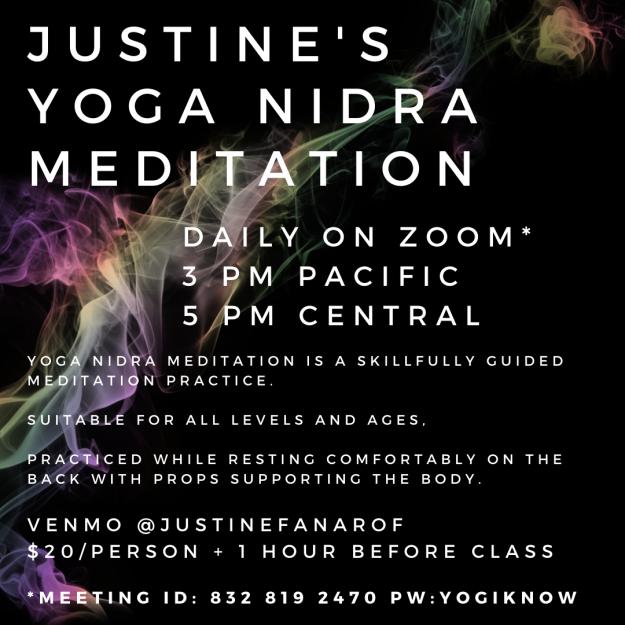 yoga nidra meditation justine fanarof online zoom rest nourishent peace care experience felt somatic turiya